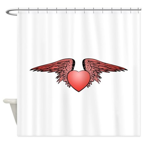 Red Angel Wing Heart Shower Curtain