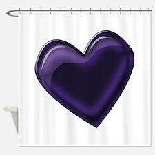 Black Jelly Heart Shower Curtain