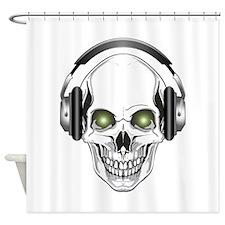 Green Eye DJ Skull Shower Curtain