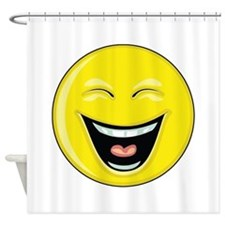 """Smiley Face - """"LOL"""" Laughing Shower Curtain"""