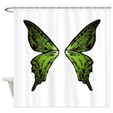 Green Butterfly Wings Shower Curtain