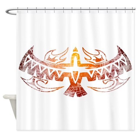 Tribal thunderbird tattoo shower curtain by wheedesign for How to shower with a new tattoo