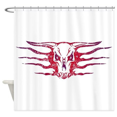 Tribal skull tattoo shower curtain by wheedesign for How to shower with a new tattoo