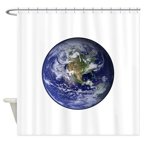 Western Earth from Space Shower Curtain