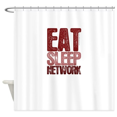Red EAT SLEEP NETWORK Shower Curtain