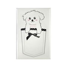 Cute puppy dog in pocket Rectangle Magnet