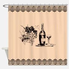 Vintage Grapes and Wine Shower Curtain