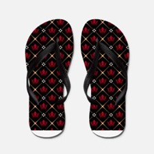 Red Crown Pattern Flip Flops