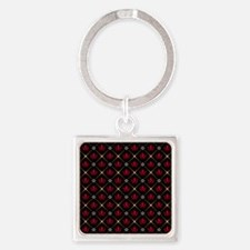 Red Crown Pattern Square Keychain