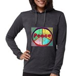 Abstract Peace Sign Womens Hooded Shirt