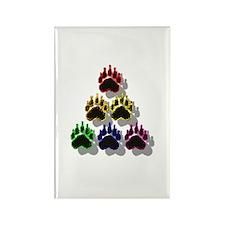 6 RAINBOW BEAR PAWS SHADOWED Rectangle Magnet