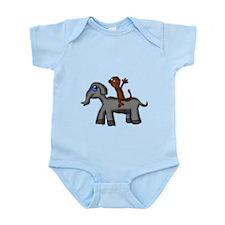 Monkey and Elephant shirt design Infant Bodysuit