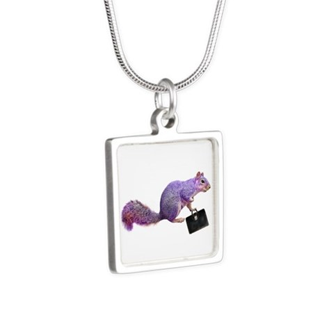 Purple Squirrel Silver Square Necklace