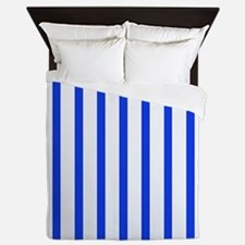 Blue and white stripes Queen Duvet