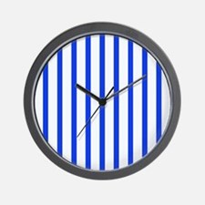 Blue and white stripes Wall Clock