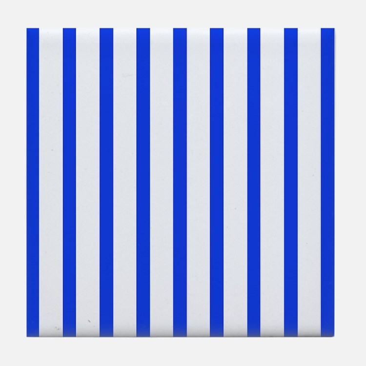 Blue and white stripes Tile Coaster