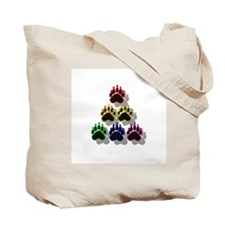 6 RAINBOW BEAR PAWS SHADOWED Tote Bag