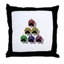 6 RAINBOW BEAR PAWS SHADOWED Throw Pillow