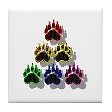 6 RAINBOW BEAR PAWS SHADOWED Tile Coaster