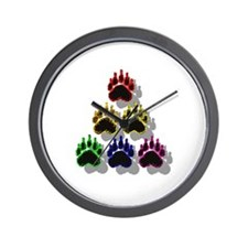 6 RAINBOW BEAR PAWS SHADOWED Wall Clock