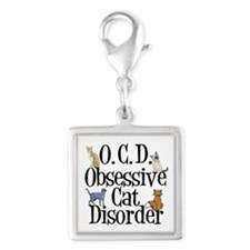 Obsessive Cat Disorder Silver Square Charm