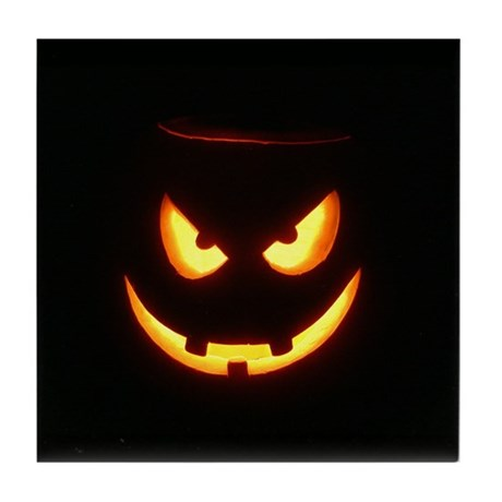 Evil Glowing Jack o'Lantern Face Tile Coaster