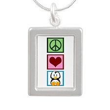 Peace Love Penguins Silver Portrait Necklace