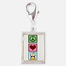 Peace Love Penguins Silver Portrait Charm
