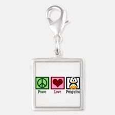 Peace Love Penguins Silver Square Charm