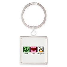 Peace Love Penguins Square Keychain