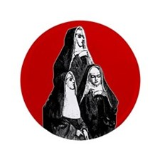 "Vintage Illustration Of Nuns 3.5"" Button"
