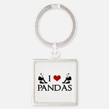 I Heart Pandas Square Keychain