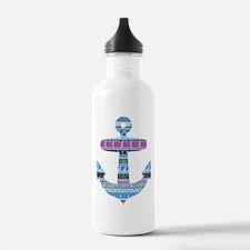 Blue Tribal Anchor Water Bottle