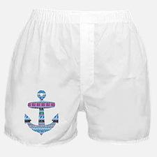 Blue Tribal Anchor Boxer Shorts
