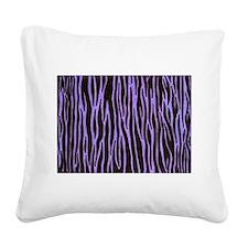 Purple Zebra Stripe Square Canvas Pillow
