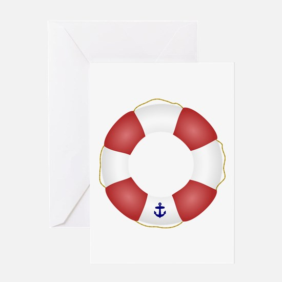 Red and White Life Saver Greeting Card