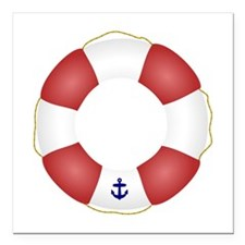 """Red and White Life Saver Square Car Magnet 3"""" x 3"""""""