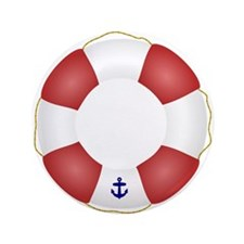 """Red and White Life Saver 3.5"""" Button (100 pack)"""
