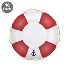 """Red and White Life Saver 3.5"""" Button (10 pack)"""