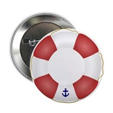 """Red and White Life Saver 2.25"""" Button (10 pack)"""