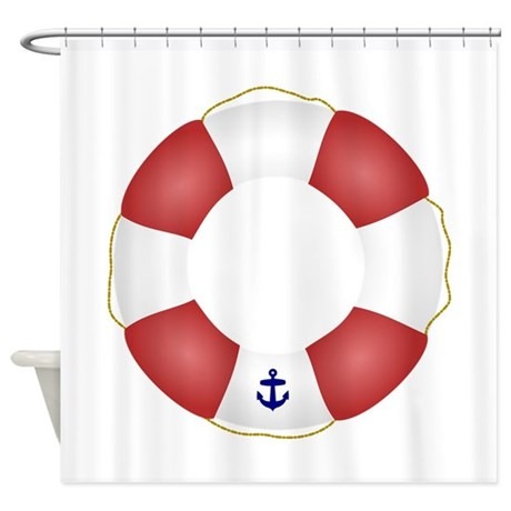 Red And White Life Saver Shower Curtain By Inspirationzstore