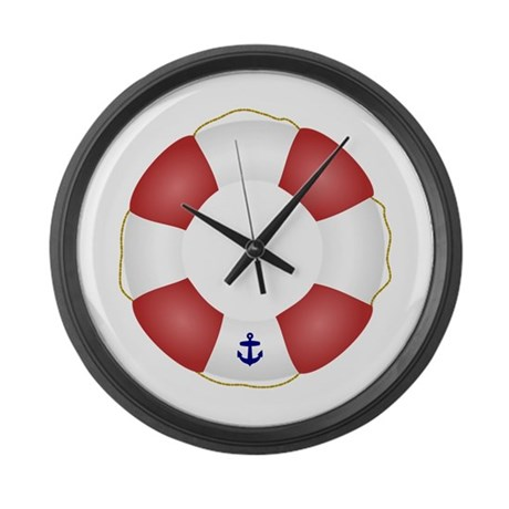 Red And White Life Saver Large Wall Clock By Inspirationzstore