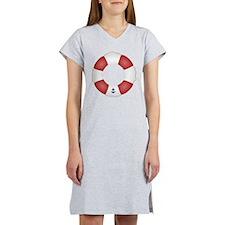 Red and White Life Saver Women's Nightshirt