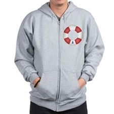 Red and White Life Saver Zip Hoodie