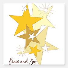 "Peace and Joy Stars Square Car Magnet 3"" x 3"""