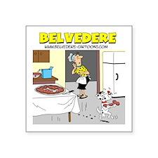"Belvederes Pizza Bone Square Sticker 3"" x 3&q"