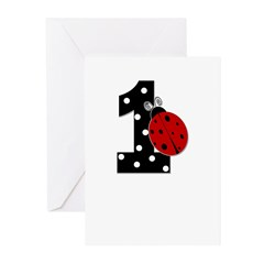 1_ladybug_birthdaygirl_BLANK Greeting Cards (Pk of