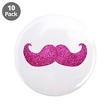 "Pink Bling Mustache (faux glitter) 3.5"" Button (10"