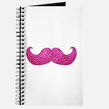 Pink Bling Mustache (faux glitter) Journal