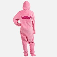 Pink Bling Mustache (faux glitter) Footed Pajamas